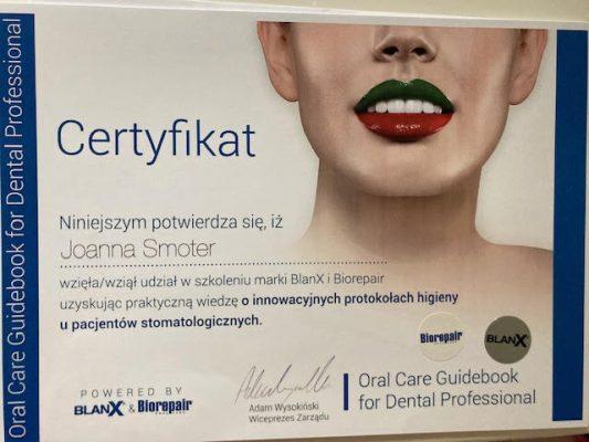 Dental-Corner-certyfikat-Joanna-Smoter-4
