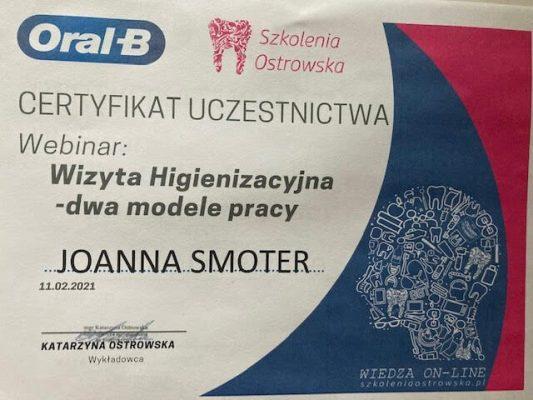 Dental-Corner-certyfikat-Joanna-Smoter